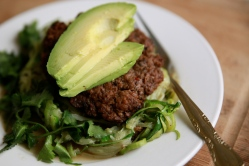 Nom Nom Paleo Bacon Burgers with Zoodles & Avocado