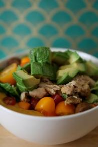 Chicken avocado salad over sweet potato soup, 2