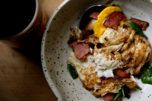 Fried eggs with pastrami and spinach