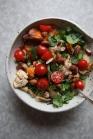 Coconut Peanut Milk Soup with Chicken, Peas, Sweet Potato, Zoodles, Basil, Cilantro, Lime, Tomatoes and Cardamon-Oregano Almonds